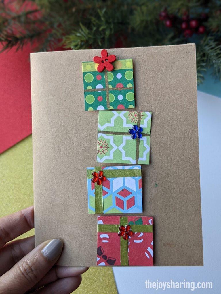 how to make gift box Christmas card for kids?