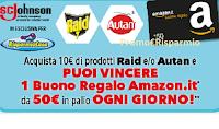 Logo RisparmioCasa : vinci buoni Amazon da 50 euro con Raid e Autan