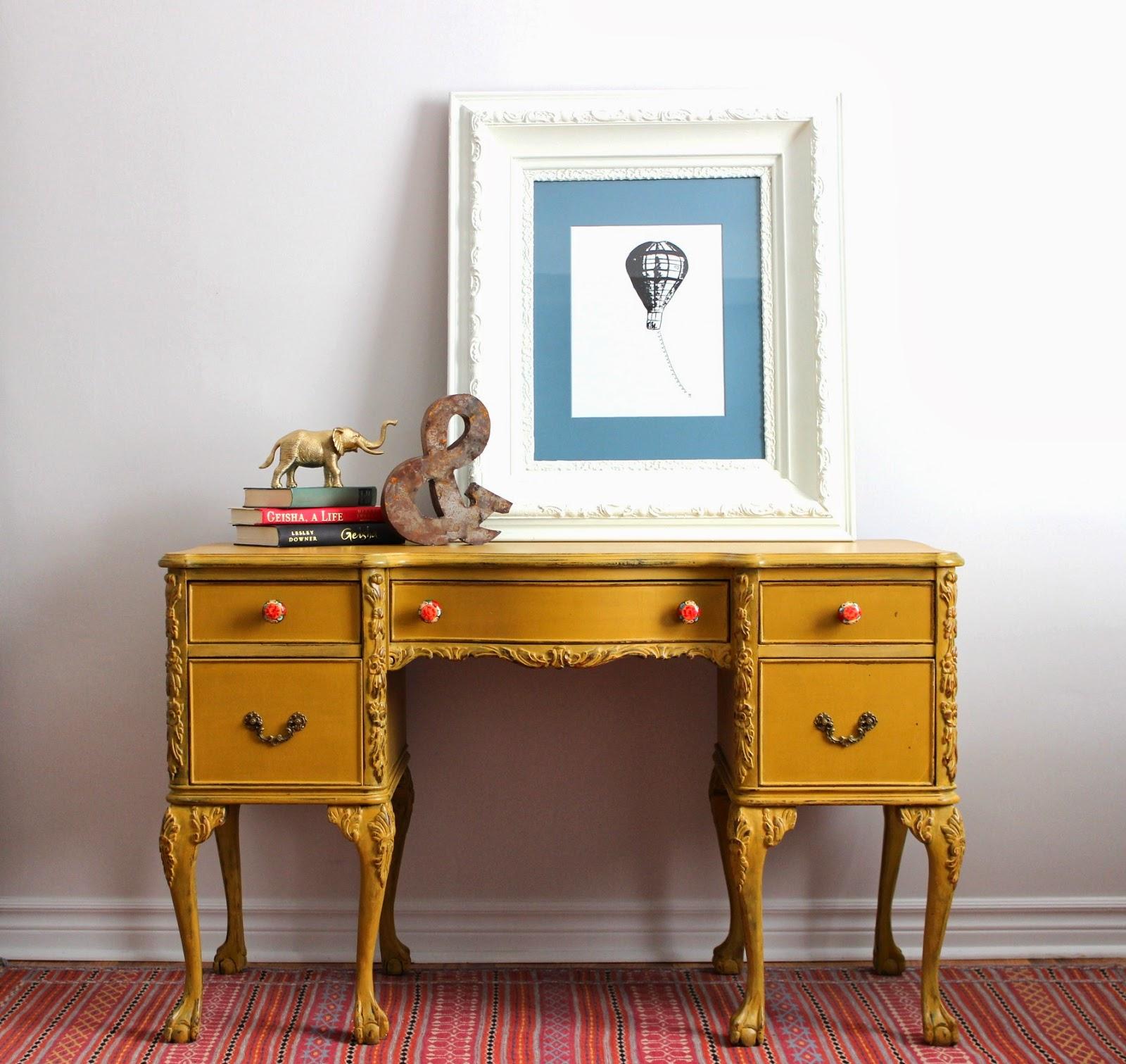 Poppyseed Creative Living: Mustard Yellow Writing Desk