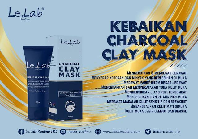 Hilangkan Jerawat dan Parut Seawal 7Hari Dengan Charcoal Clay Mask By Le. Lab Routine