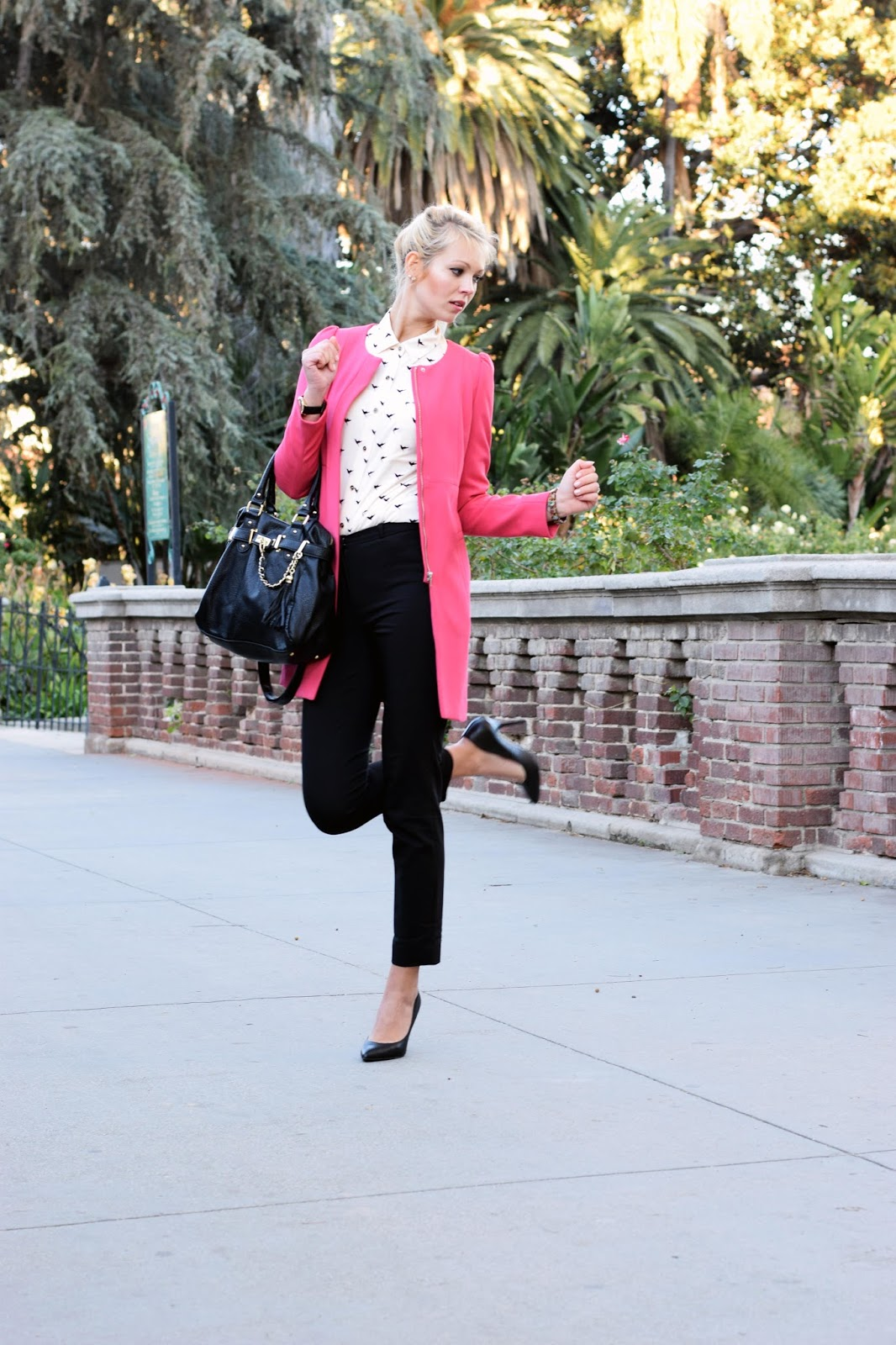 Pink coat, H&M coat, office attire, office, slim fit pants, bird shirt, classy, elegant, work