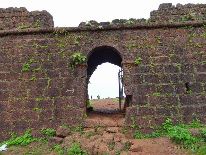 Rugged red sand stone entry gate of  Chappora Fort - Near Mapuza in Goa.