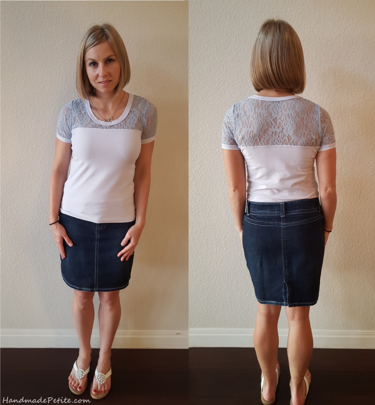 Handmade denim skirt and basic tee with added lace