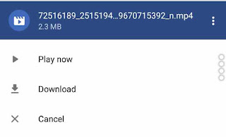 download popup for facebook video on Opera Mini