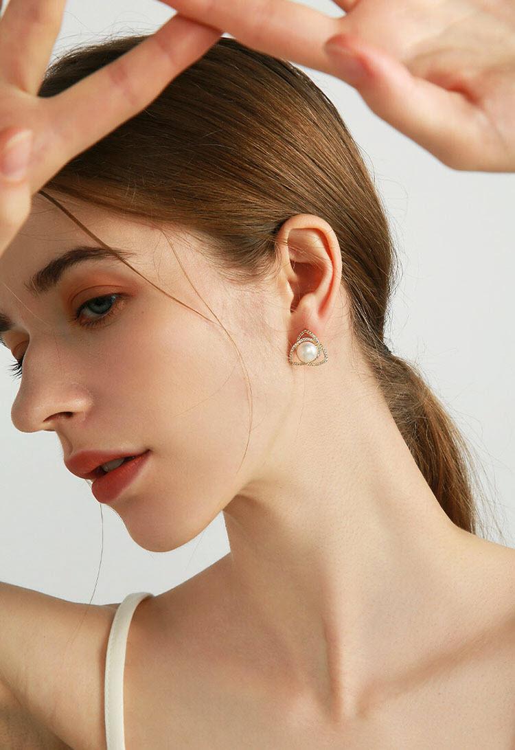 綺夢幾何淡水真珍珠耳環