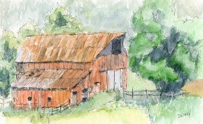 Kamas barn Utah sketch pen watercolor plein air
