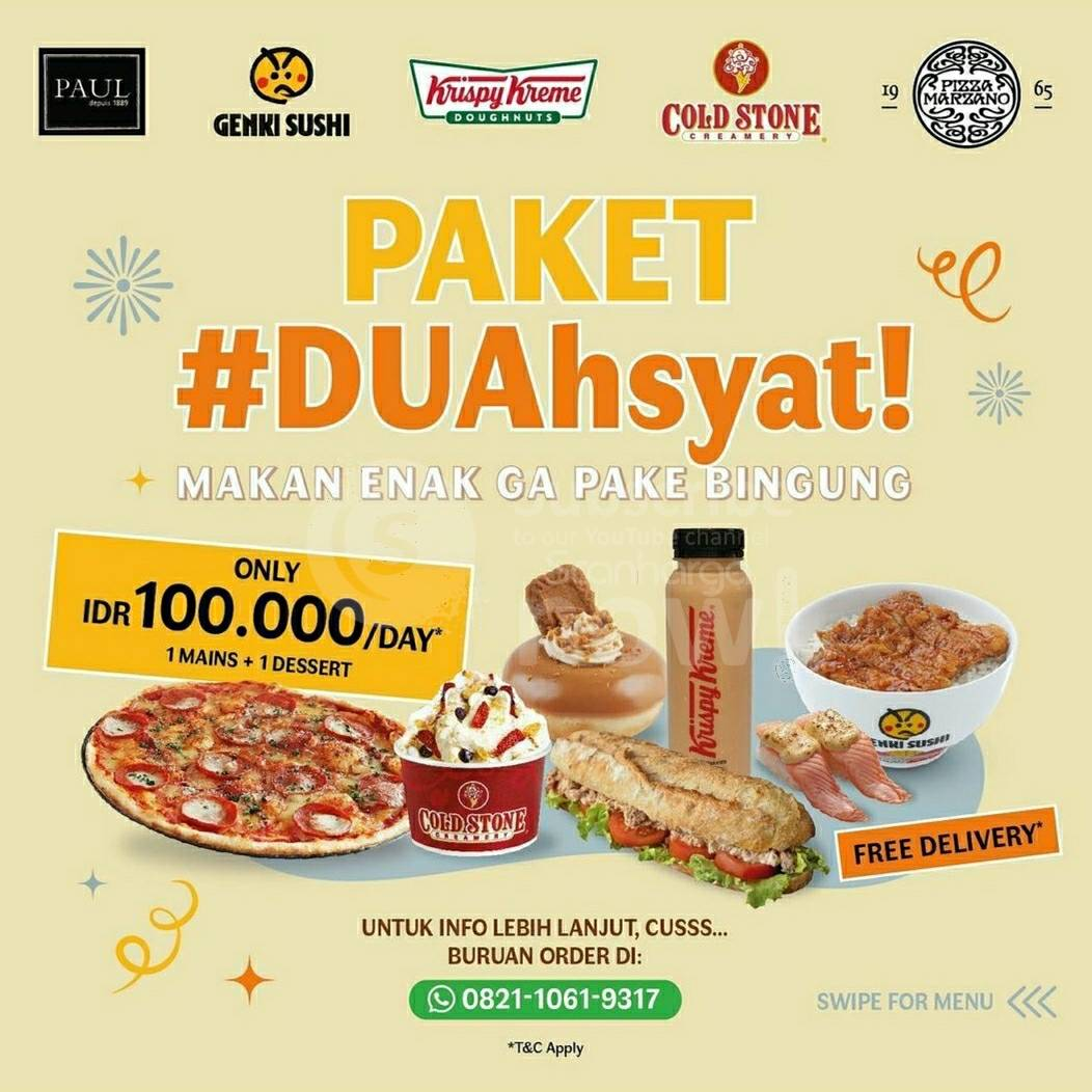 Promo Paket DUAHSYAT (KRISPY KREME + GENKI SUSHI + COLDSTONE + PIZZA MARZANO + PAUL) hanya Rp.100.000