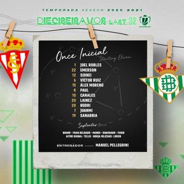 Sporting de Gijón - Betis, alineaciones oficiales
