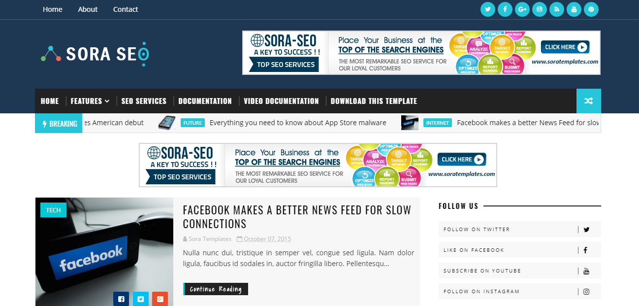 There Are So Many Responsive Seo Friendly And Ads Ready Blogger Templates But Sora Is Also One Of The Best In Top List