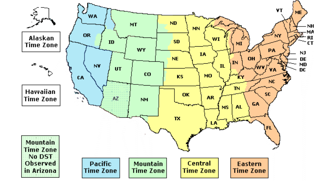 USA States map with abbreviations ~ US IT Staffing
