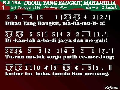 Lirik dan Not Kidung Jemaat 194 Dikau, Yang Bangkit, Mahamulia