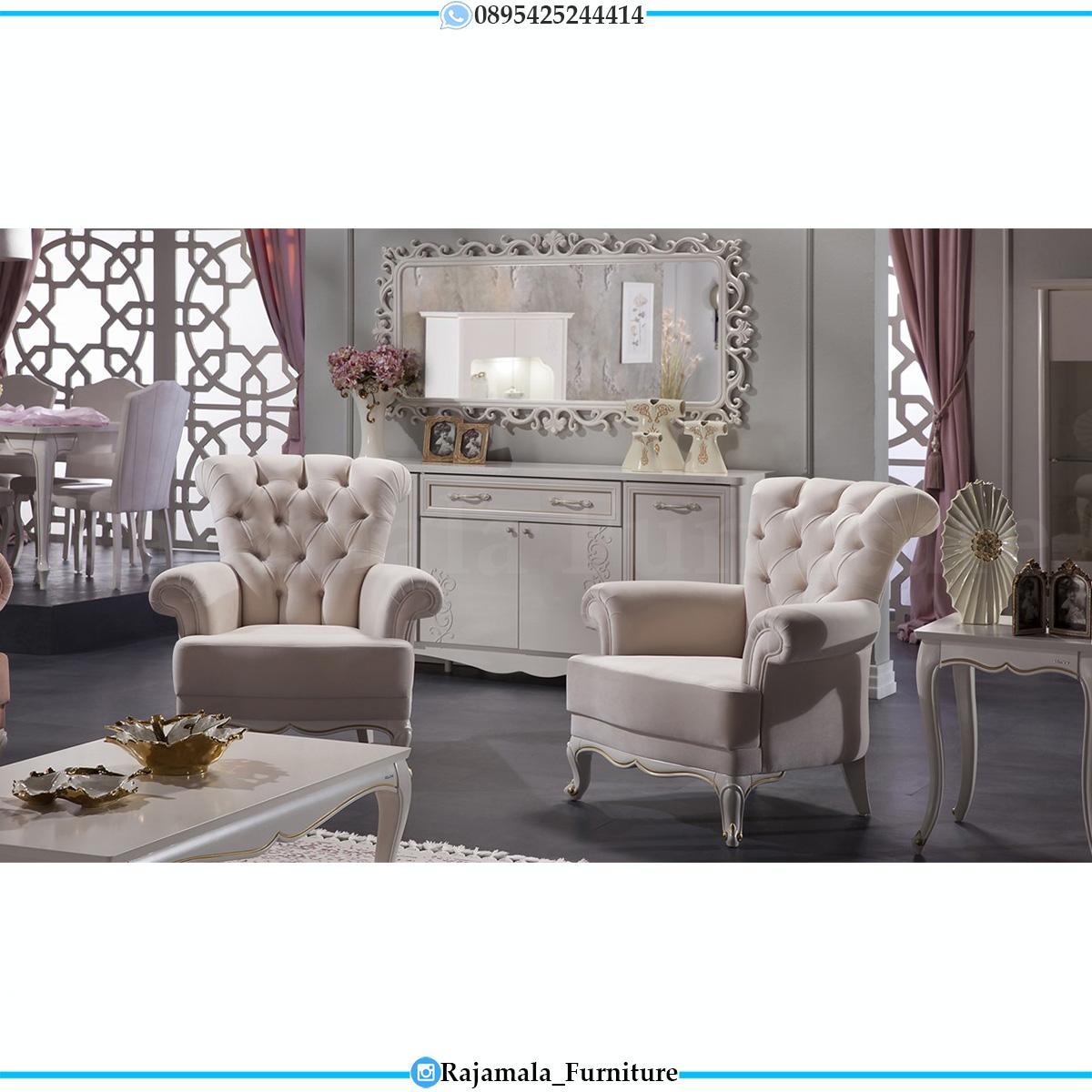 Sofa Tamu Minimalis Terbaru Shabby Chic Elegant White Duco Color RM-0624