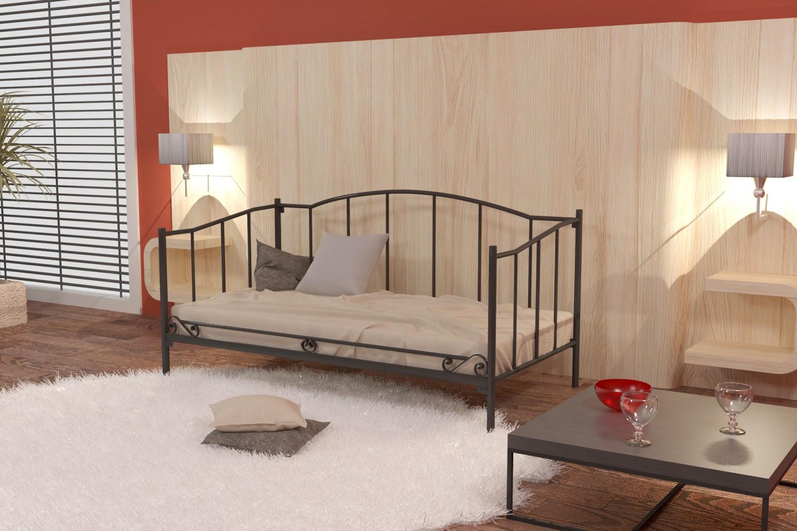 Łóżko metalowe sofa wzór 18