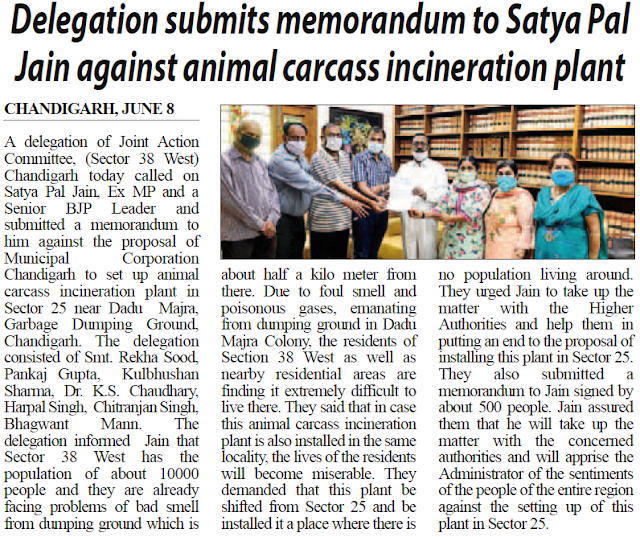 Delegation submits memorandum to Satya Pal Jain against animal carcass incineration plant