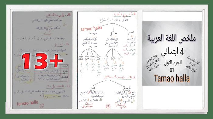 ملخص اللغة العربية الجزء الأول للسنة الرابعة ابتدائي