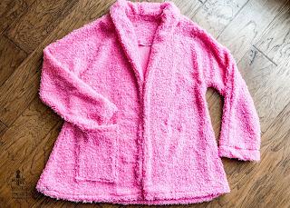 Sew News Kawartha Cardi Jacket Pink Shearling Knit Flat Lay