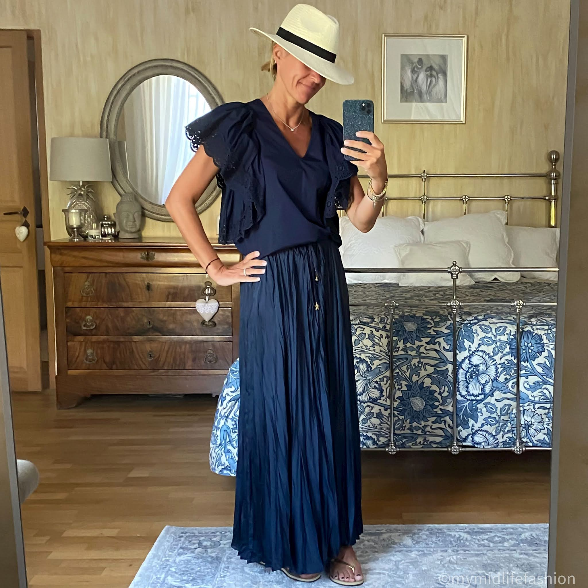 my midlife fashion, zara wrinkled satin effect skirt, zara Panama hat, see by Chloe broderie anglais frill sleeve top, havaianas slim fit gold metallic flip flops