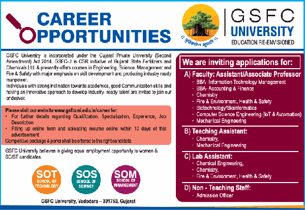 GSFC University Biotech/Bioinformatics Faculty Job Openings