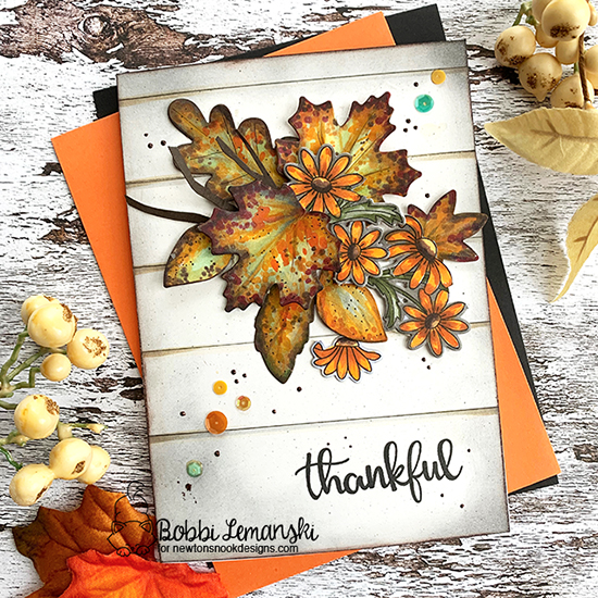 Thankful by Bobbi features Beautiful Leaves, Thankful Thoughts, and Dainty Daisies by Newton's Nook Designs; #newtonsnook