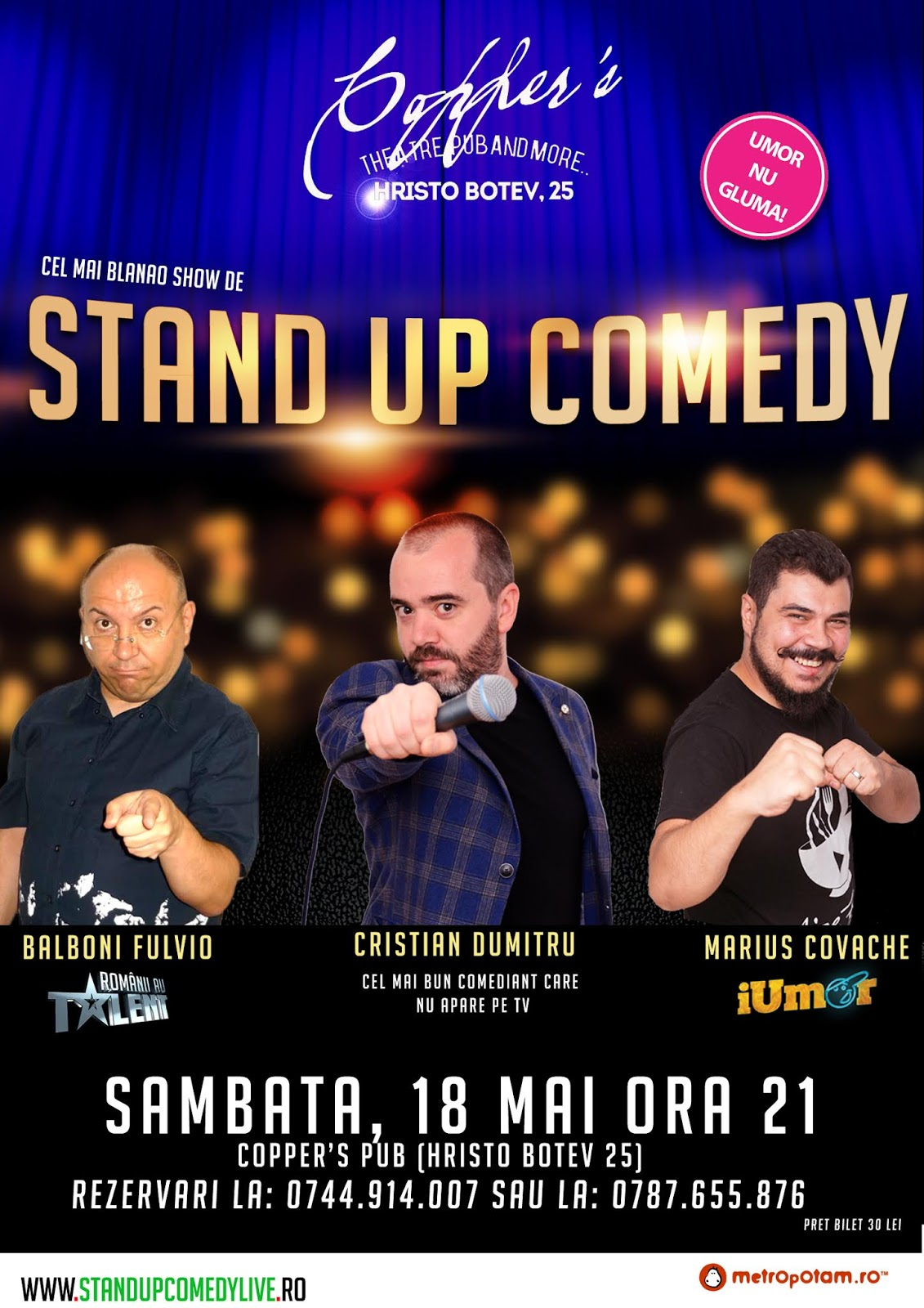 Stand Up Comedy Sambatra 18 Mai 2019 in Bucuresti