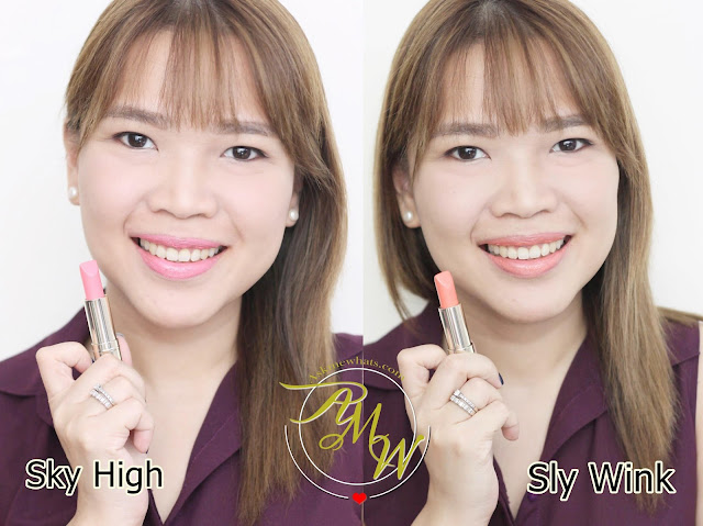 a photo of Nikki Tiu wearing Estee Lauder NEW Pure Color Love review in Sky High and Sly Wink