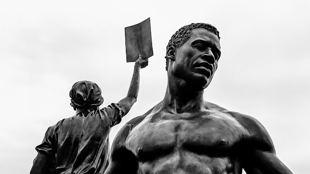Emancipation and Freedom Monument, black and white detail of full image, taken following the unveiling ceremony on September 22, 2021, on Brown's Island, Richmond, Virginia.