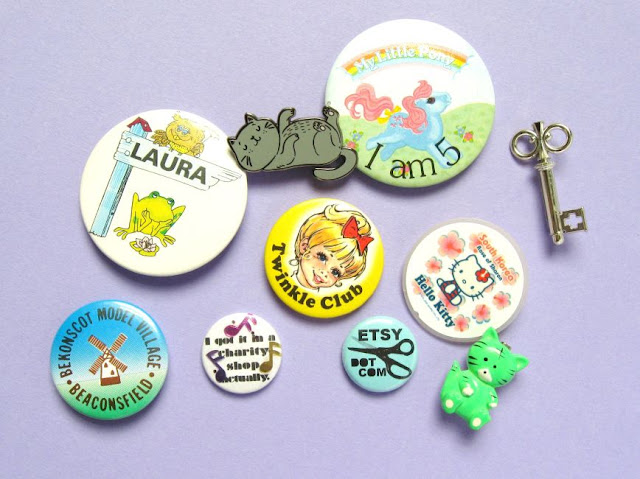 Badges and pins to decorate a denim jacket