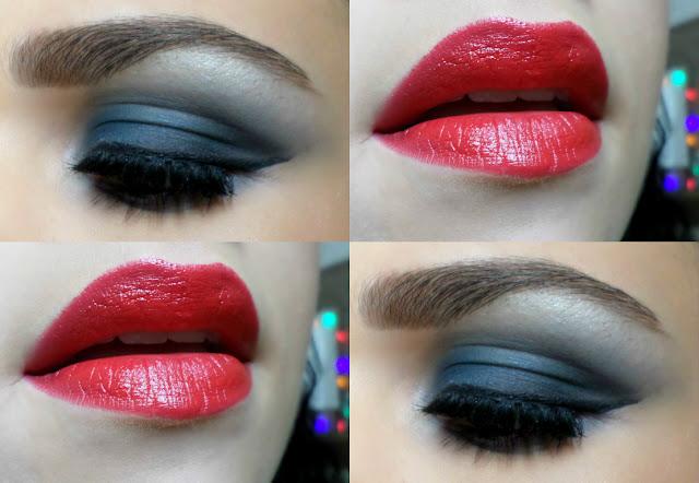 Olho Azul Esfumado e Batom Vermelho