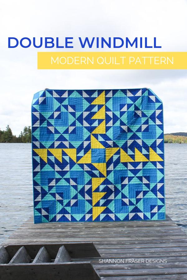 Double Windmill Modern Quilt Pattern by Shannon Fraser Designs #modernquilt #quiltpattern #quiltsinthewild