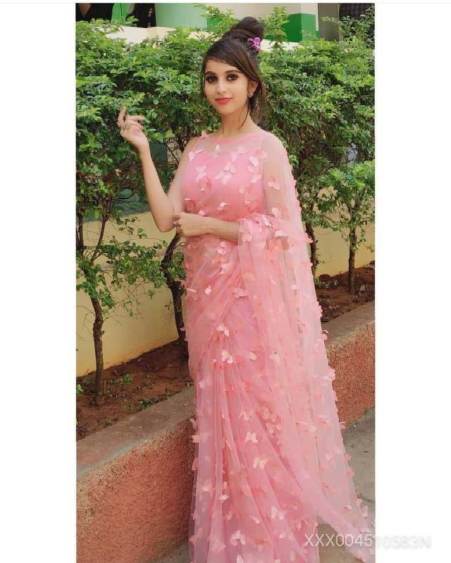 PINK Colour Women's Net Embroidered Butterfly Saree with Blouse