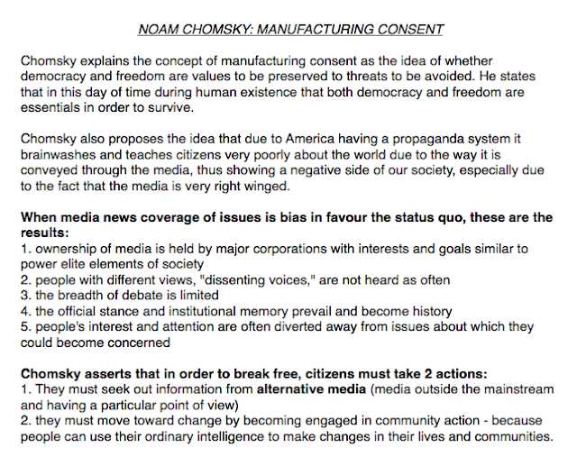 """noam chomsky manufacturing consent essay In """"manufacturing consent,"""" noam chomsky posits that western corporate media in his essay """"bad news about are the media still manufacturing consent."""
