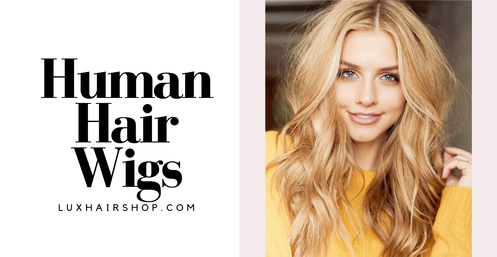 girl with human hair wigs long blond wavy