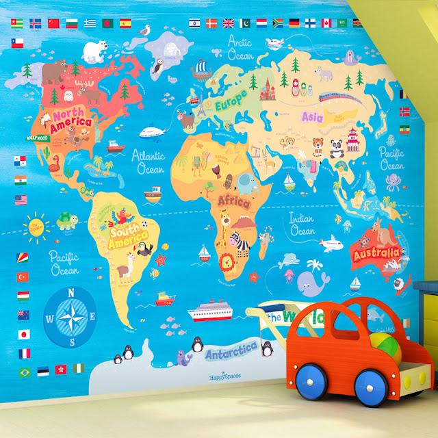 världskarta tapet barnrum barntapet fondvägg rolig tapet