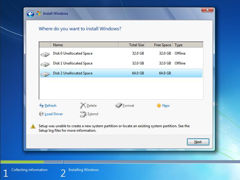 Error Install Windows