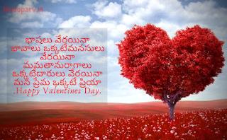Happy Valentine Day Message for Boyfriend in Telugu