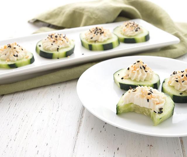 Fresh Bagel Cucumber Bites