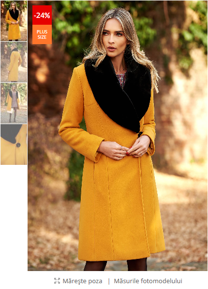 Palton dama mustariu elegant din lana un croi cambrat cu guler din blana