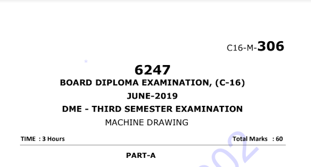 Diploma machine Drawing Question papers c16