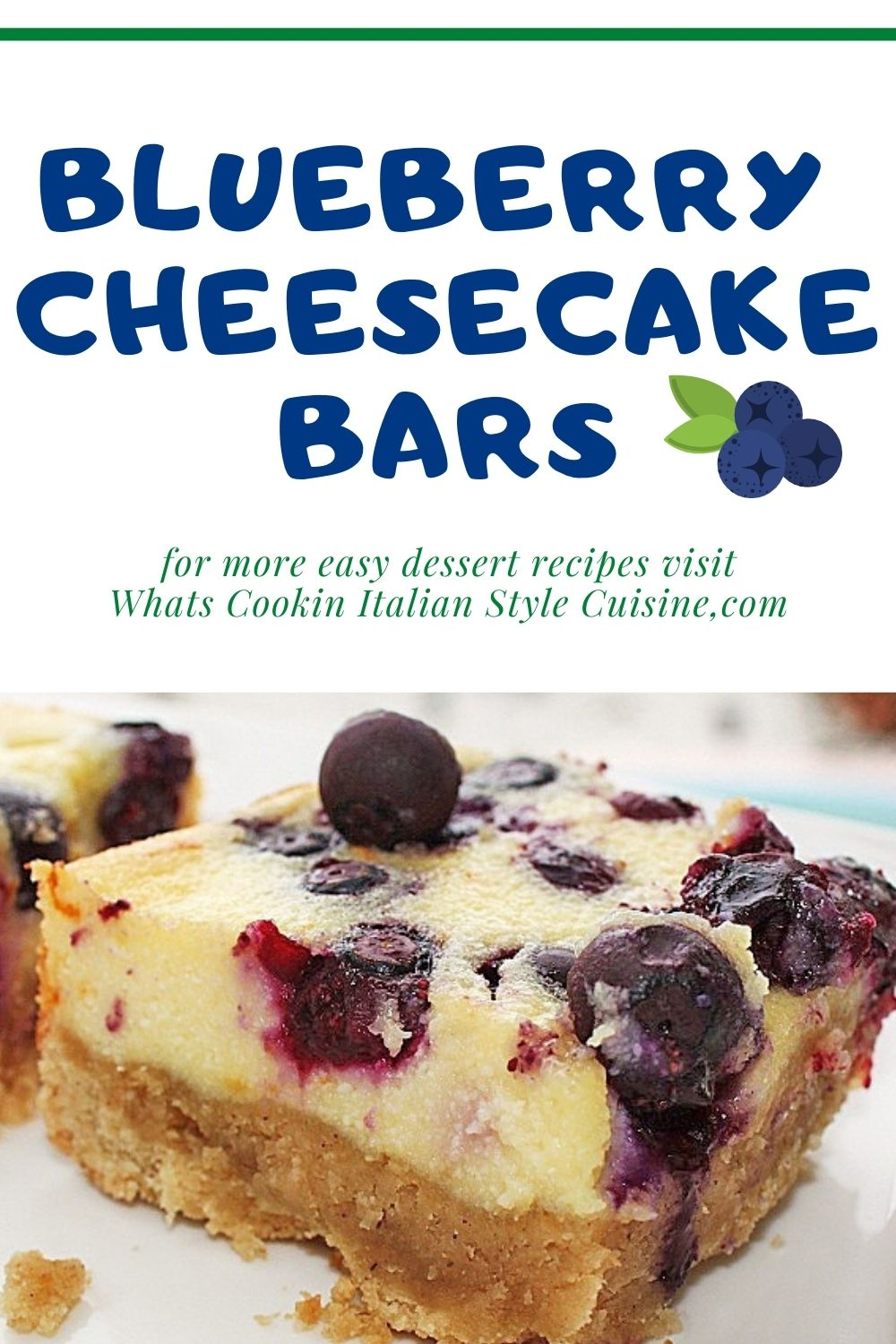 this is a pin for later on how to make blueberry cheesecake bars