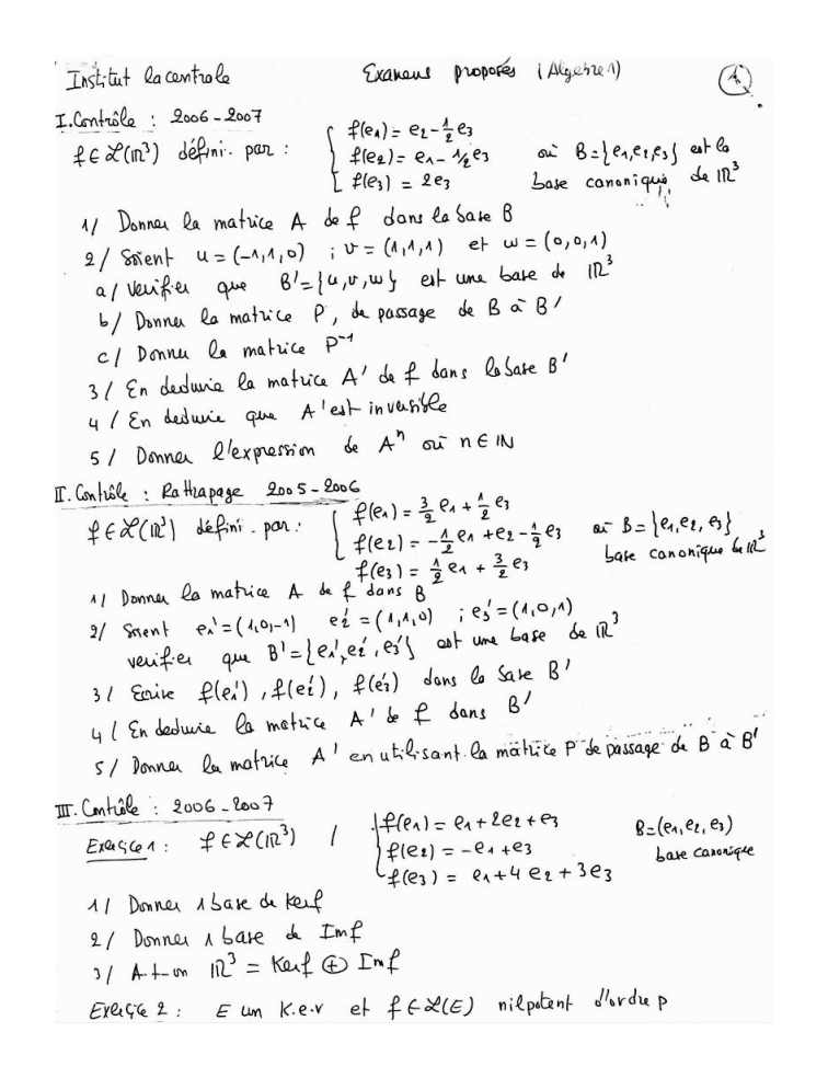 Examens d'algèbre 2 Corrigés