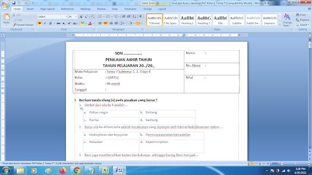 Soal Ukk Tema 7 Kelas 1 Dan Kunci Jawaban Kurikulum 2013
