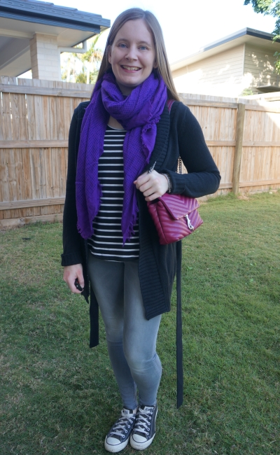 monochrome stripe tank grey skinny jeans converse cardigan with pink bag purple scarf winter school run style | away from blue