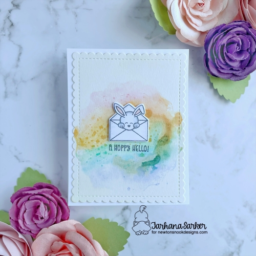 Hare Mail Bunny Card by Farhana Sarker | Hare Mail Stamp Set and Frames & Flags Die Set by Newton's Nook Designs