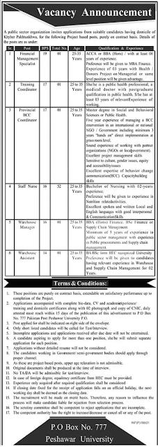 Public Sector Organization Jobs 2021 in Peshawar KPK Jobs in Pakistan 21/02/2021 Latest