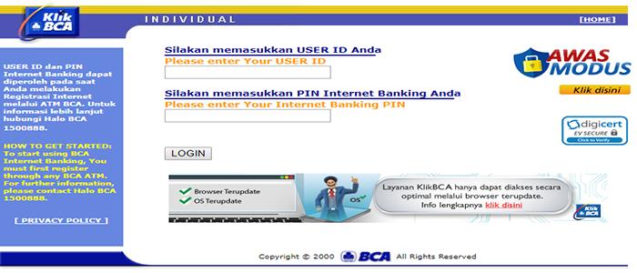 aktivasi layanan internet banking bca