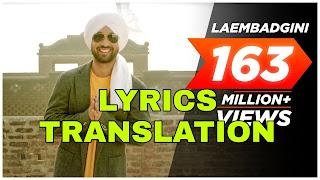 Laembadgini Lyrics Meaning/Translation in Hindi (हिंदी) - Diljit Dosanjh