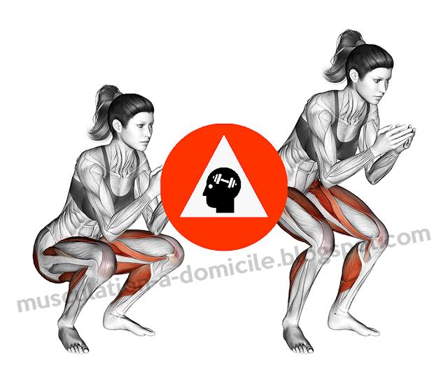 musculation fitness cuisses fessiers squat poids de corps sans matériel