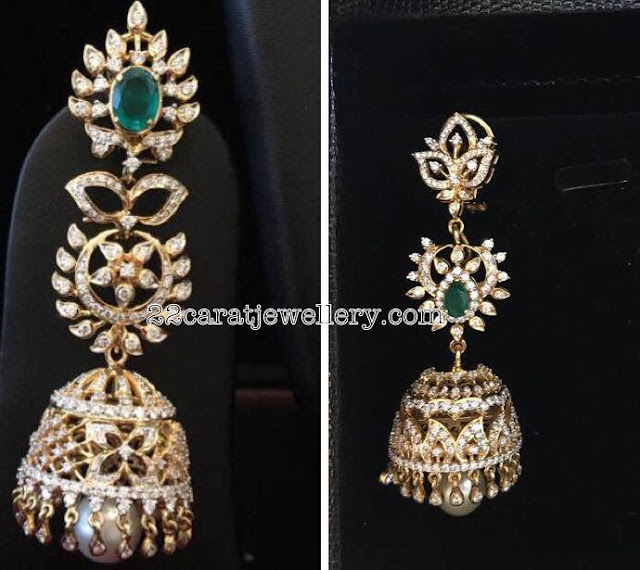 Large Diamond Jhumkas by Bhavani Jewellers