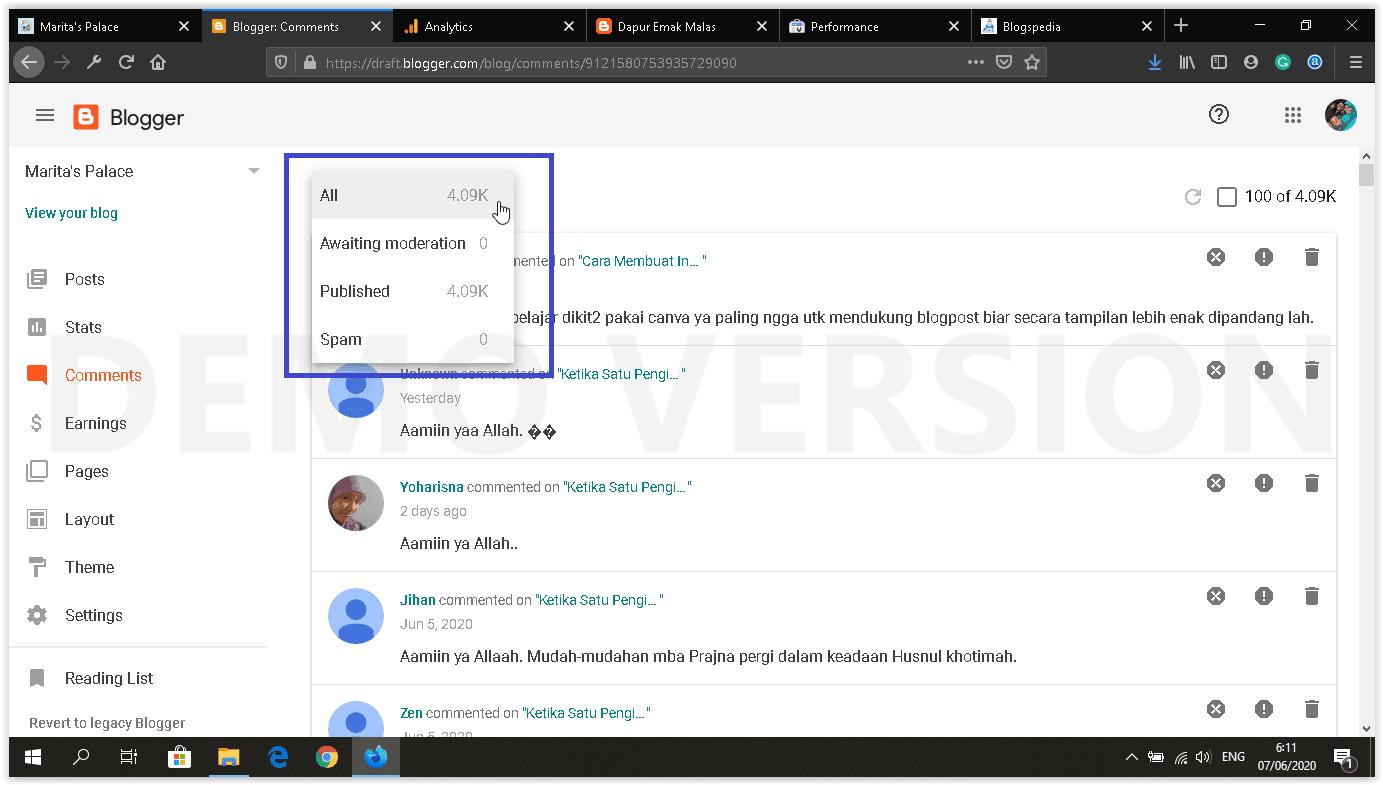 dashboard blog baru comments