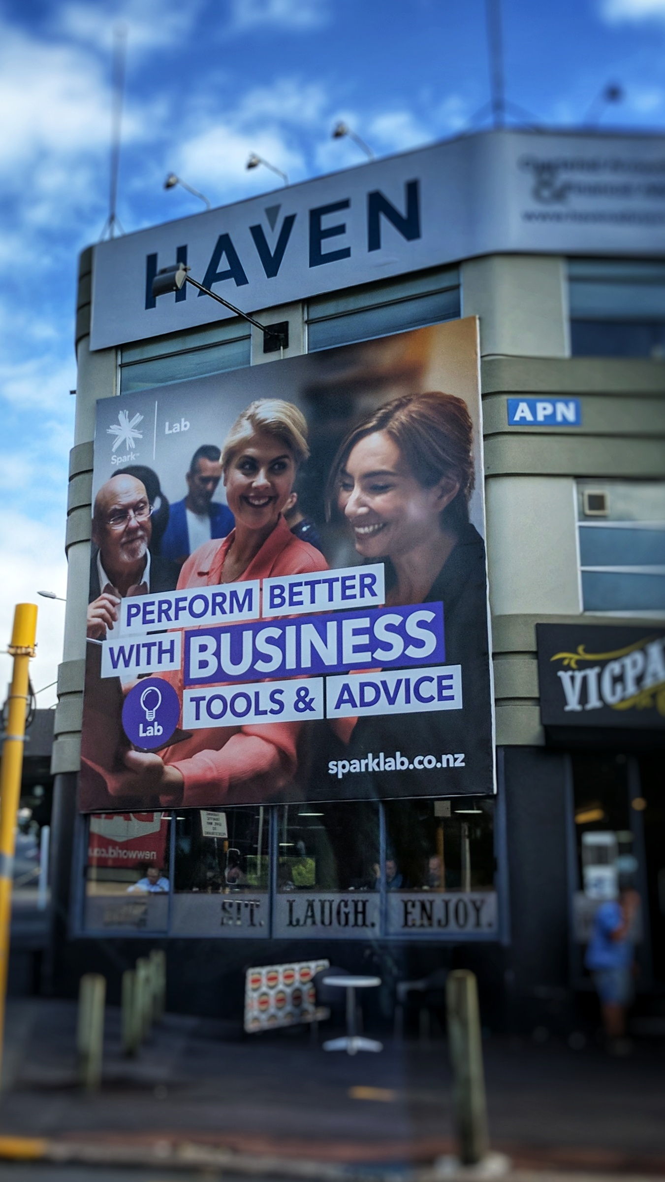 Michelle Dickinson on an Auckland Spark Labs billboard